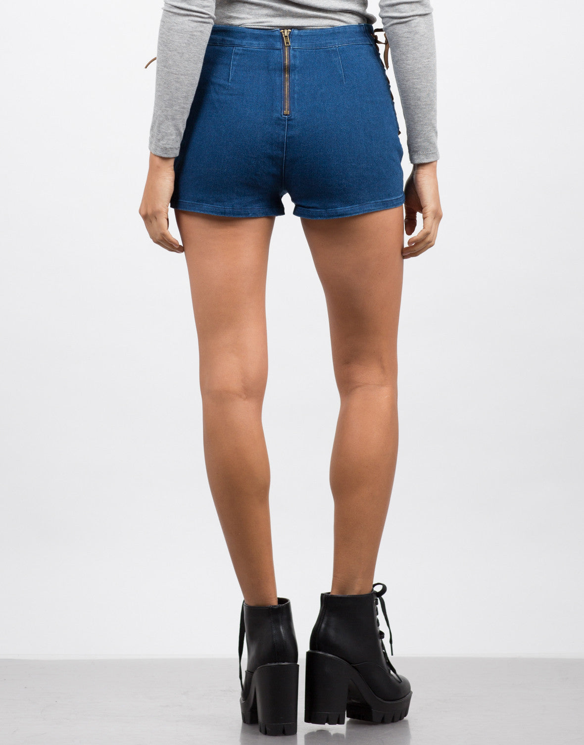 Back View of Lace Up Denim Shorts