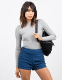Front View of Lace Up Denim Shorts