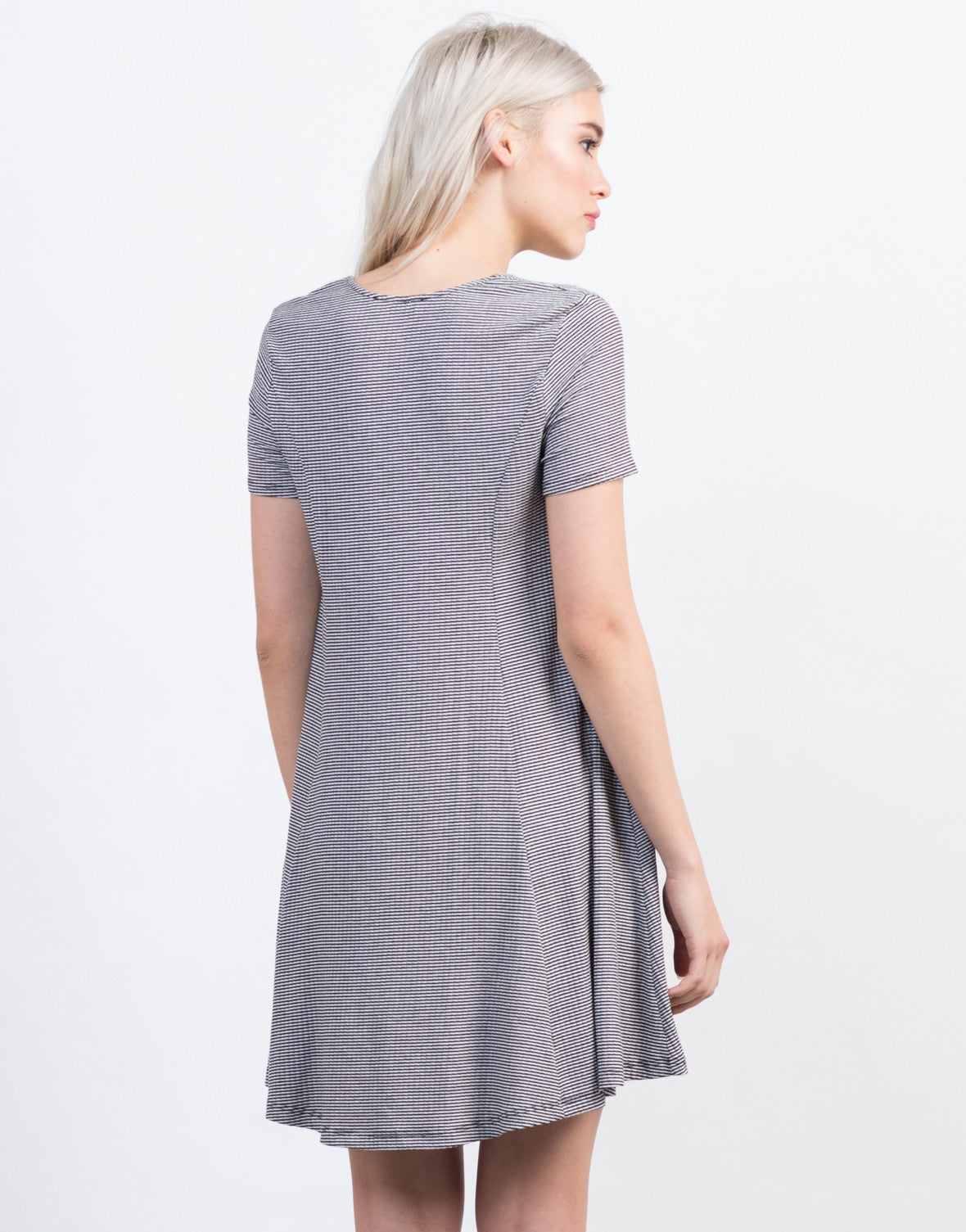 Back View of Lace Up Flared Tee Dress