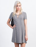 Front View of Lace Up Flared Tee Dress