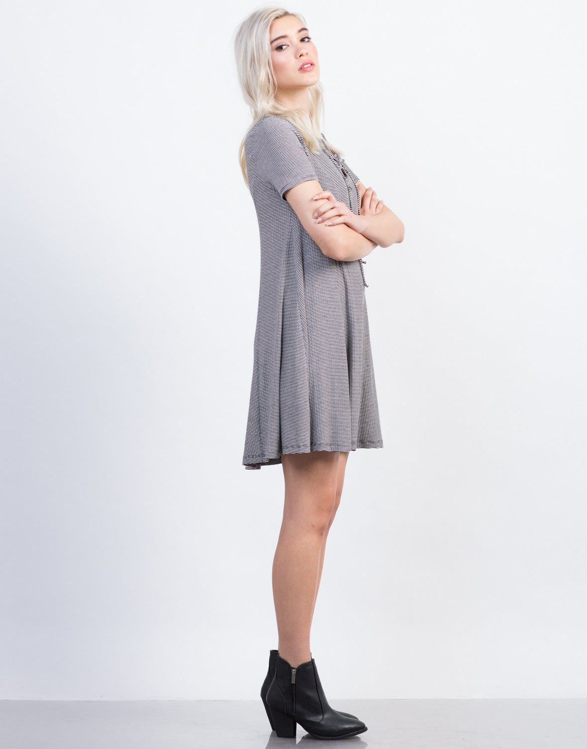Side View of Lace Up Flared Tee Dress