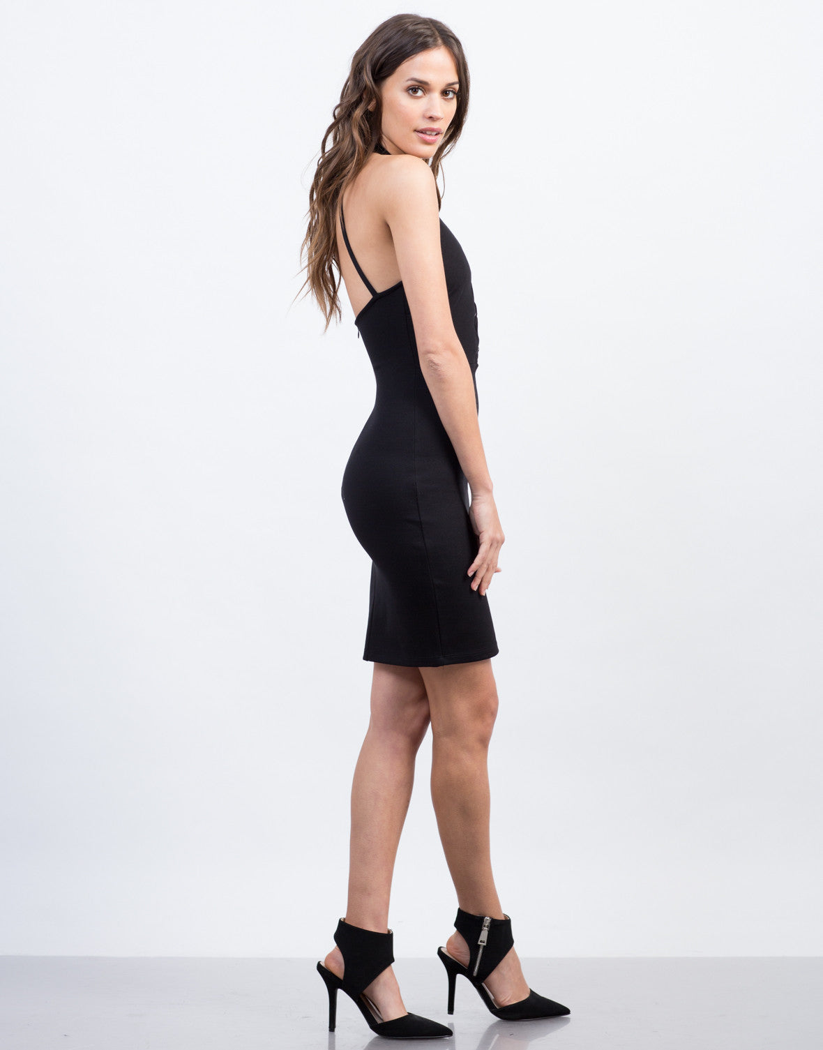 Side View of Lace-Up Halter Dress
