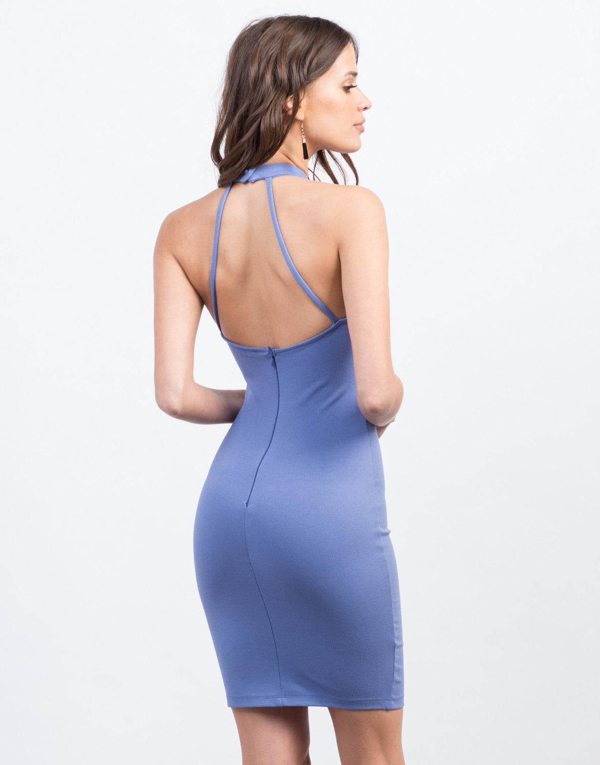 Back View of Lace-Up Halter Dress