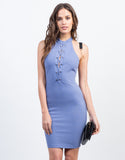 Front View of Lace-Up Halter Dress