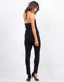 Back View of Lace Up Halter Jumpsuit