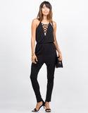 Front View of Lace Up Halter Jumpsuit