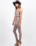 Side View of Lace Up Halter Jumpsuit