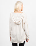 Back View of Lace Up Hooded  Sweater