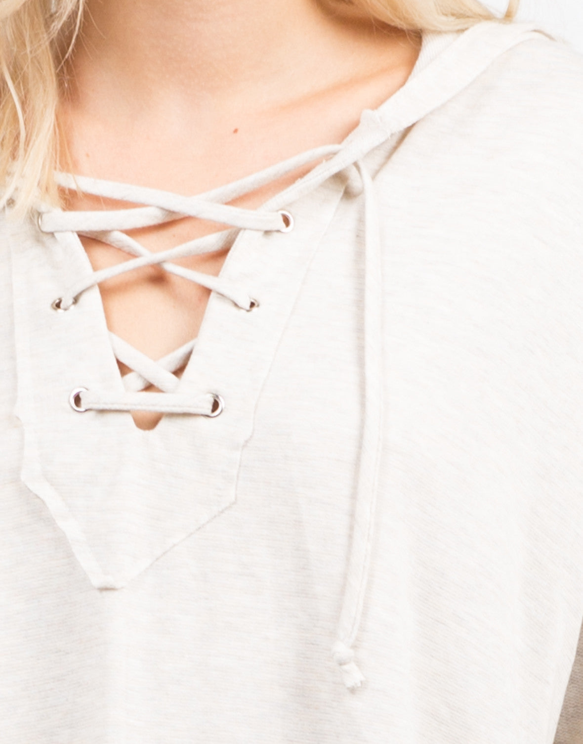 Detail of Lace Up Hooded  Sweater