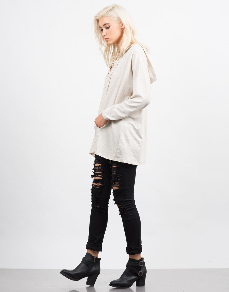 Lace Up Hooded  Sweater - 2020AVE