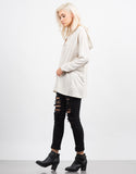 Side View of Lace Up Hooded  Sweater