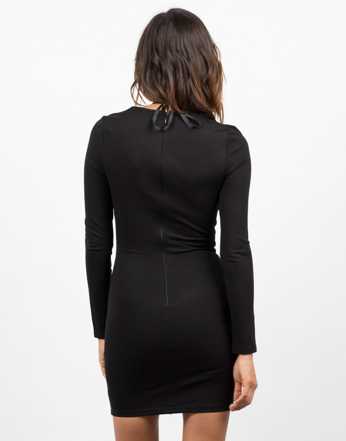 Back View of Lace Up Little Black Dress