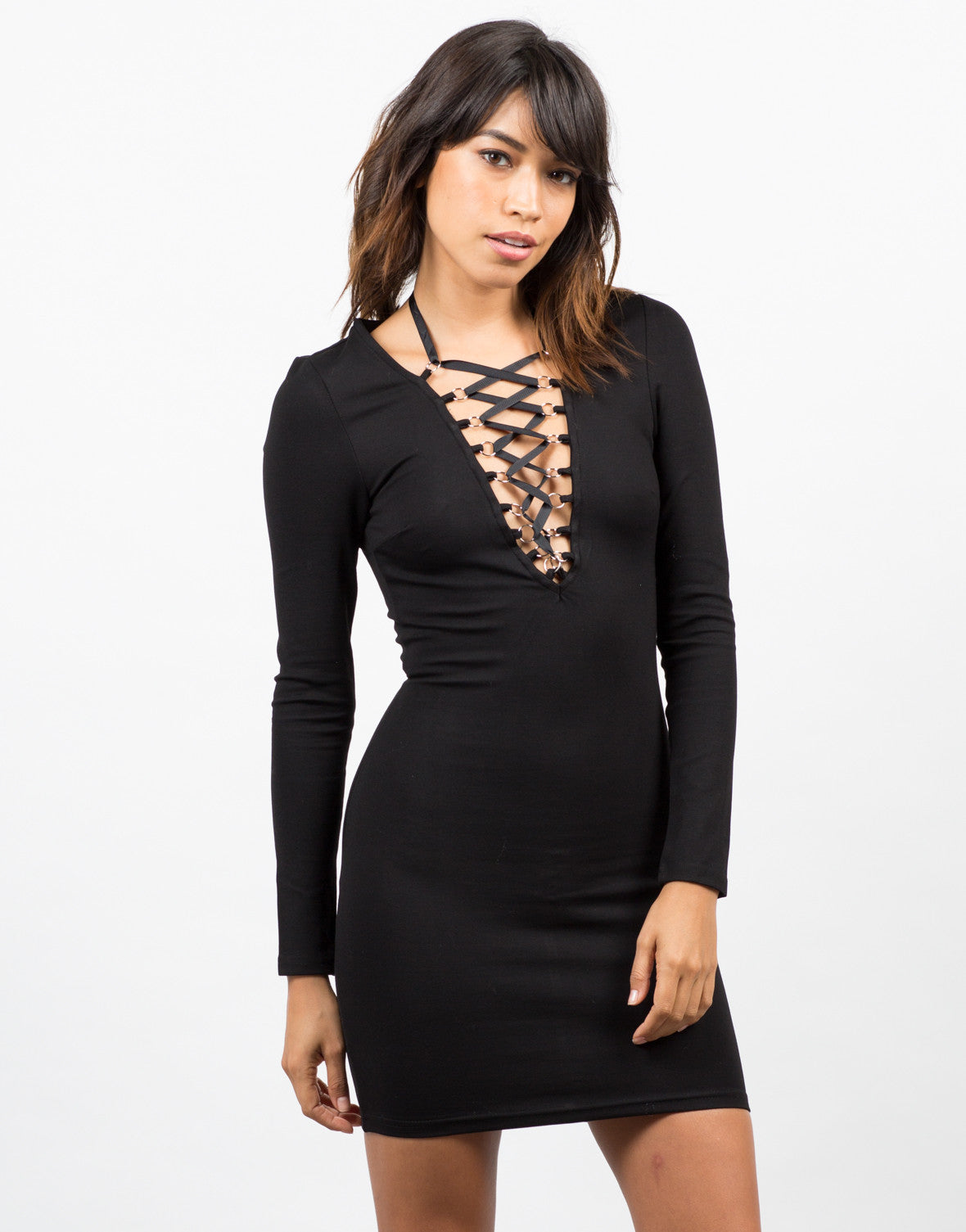 Front View of Lace Up Little Black Dress