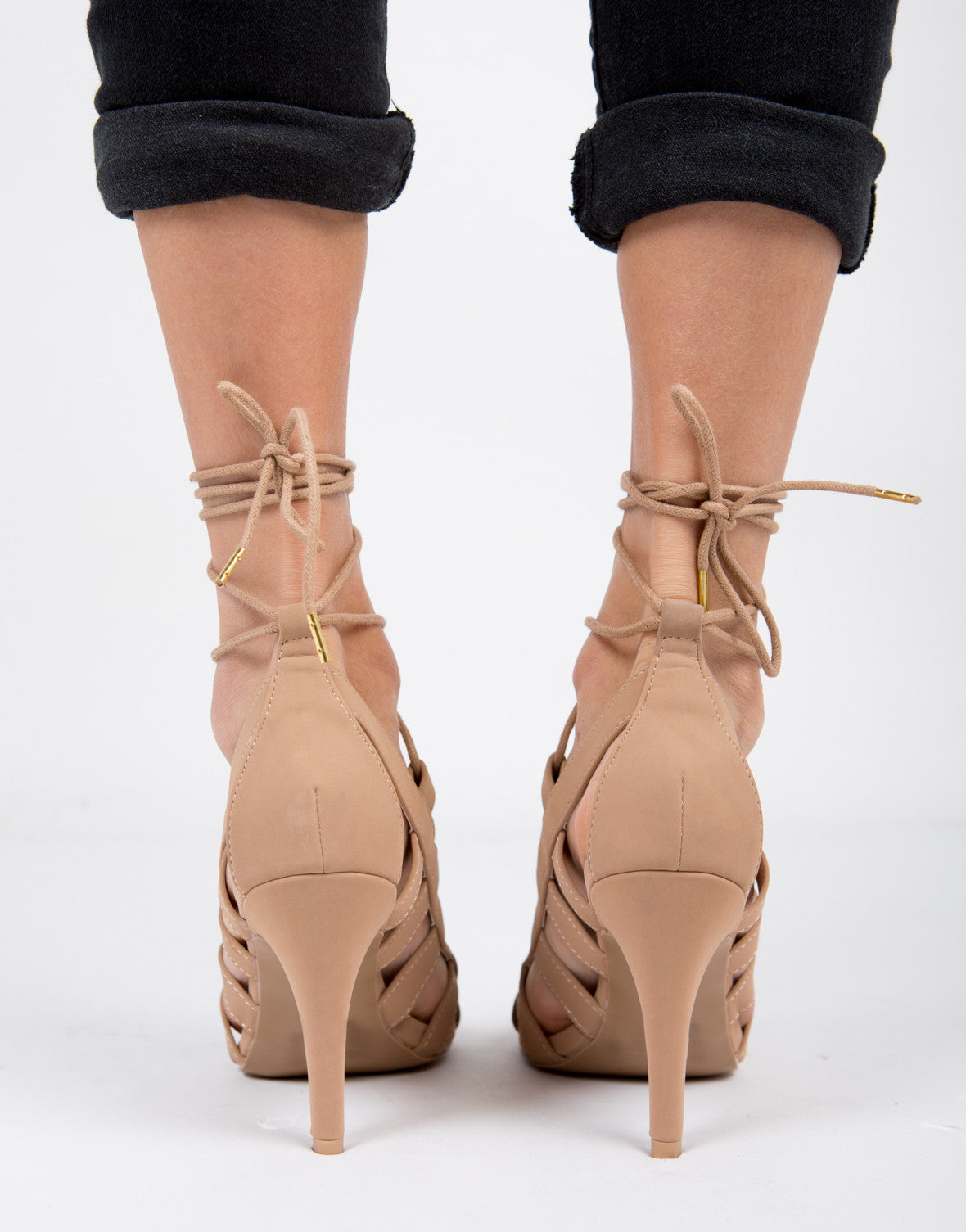 Lace Up Open Toe Heels