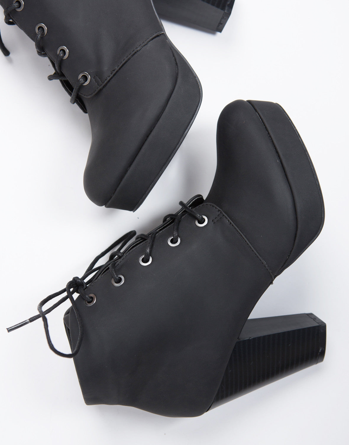 Black Lace-Up Platform Booties