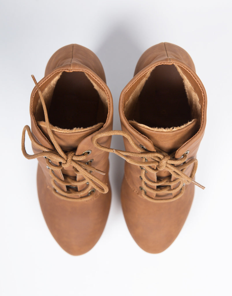 Lace-Up Platform Booties - Chestnut - 2020AVE