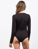Back View of Lace-Up Rayon Bodysuit