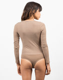Back View of Lace Up Ribbed Bodysuit
