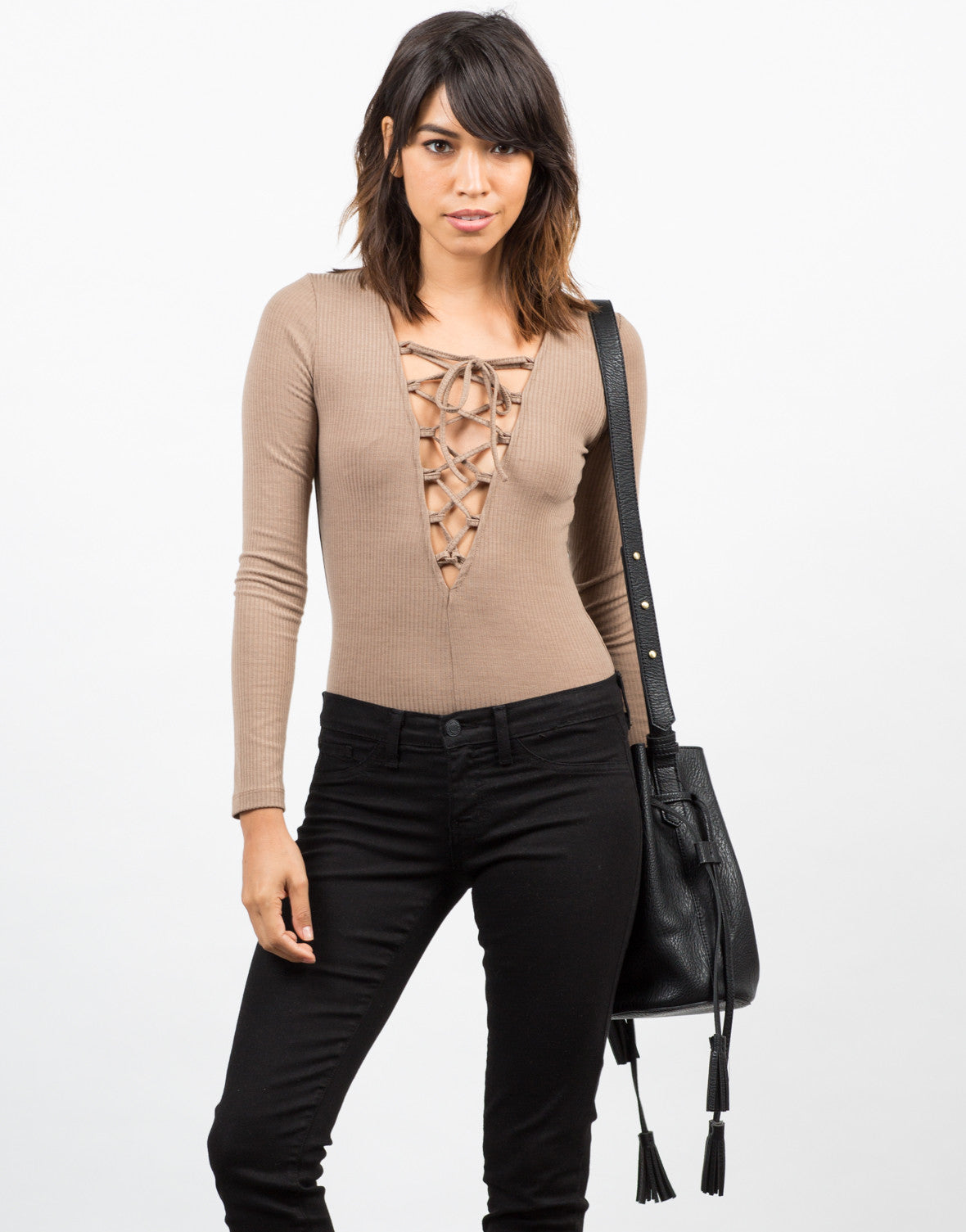 Front View of Lace Up Ribbed Bodysuit