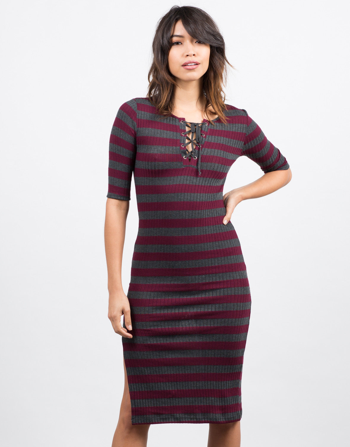 Front  View of Lace Up Striped Midi Dress