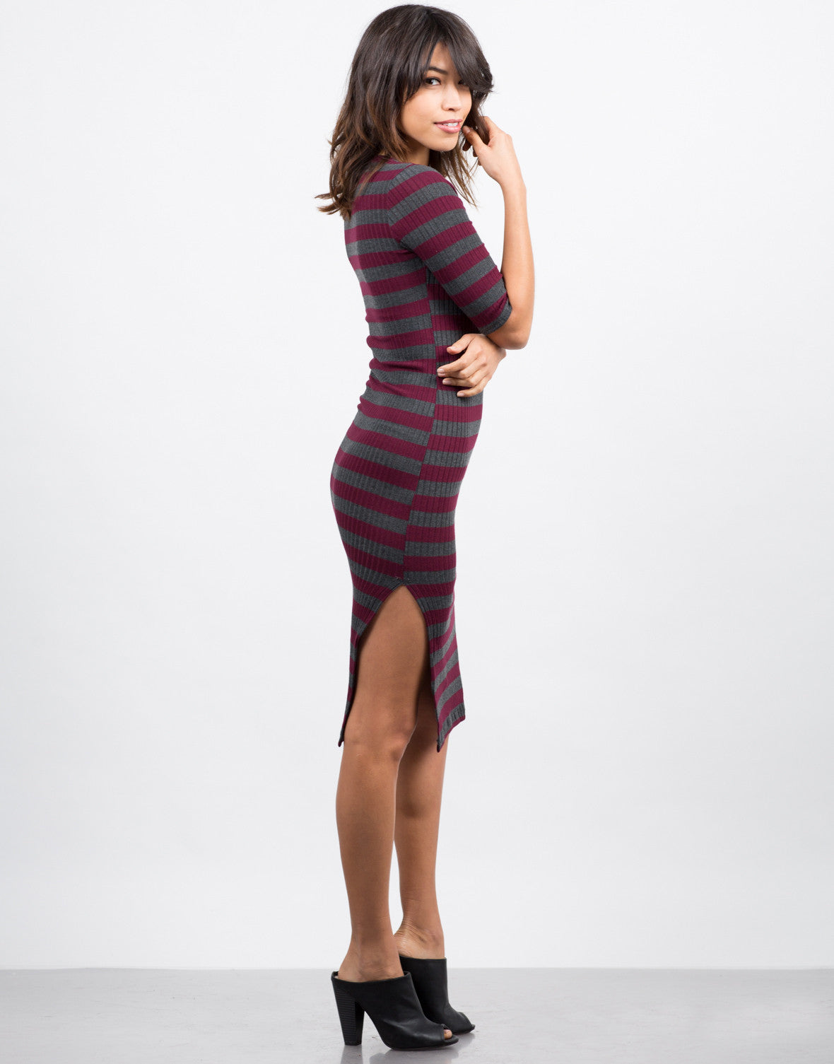 Side View of Lace Up Striped Midi Dress