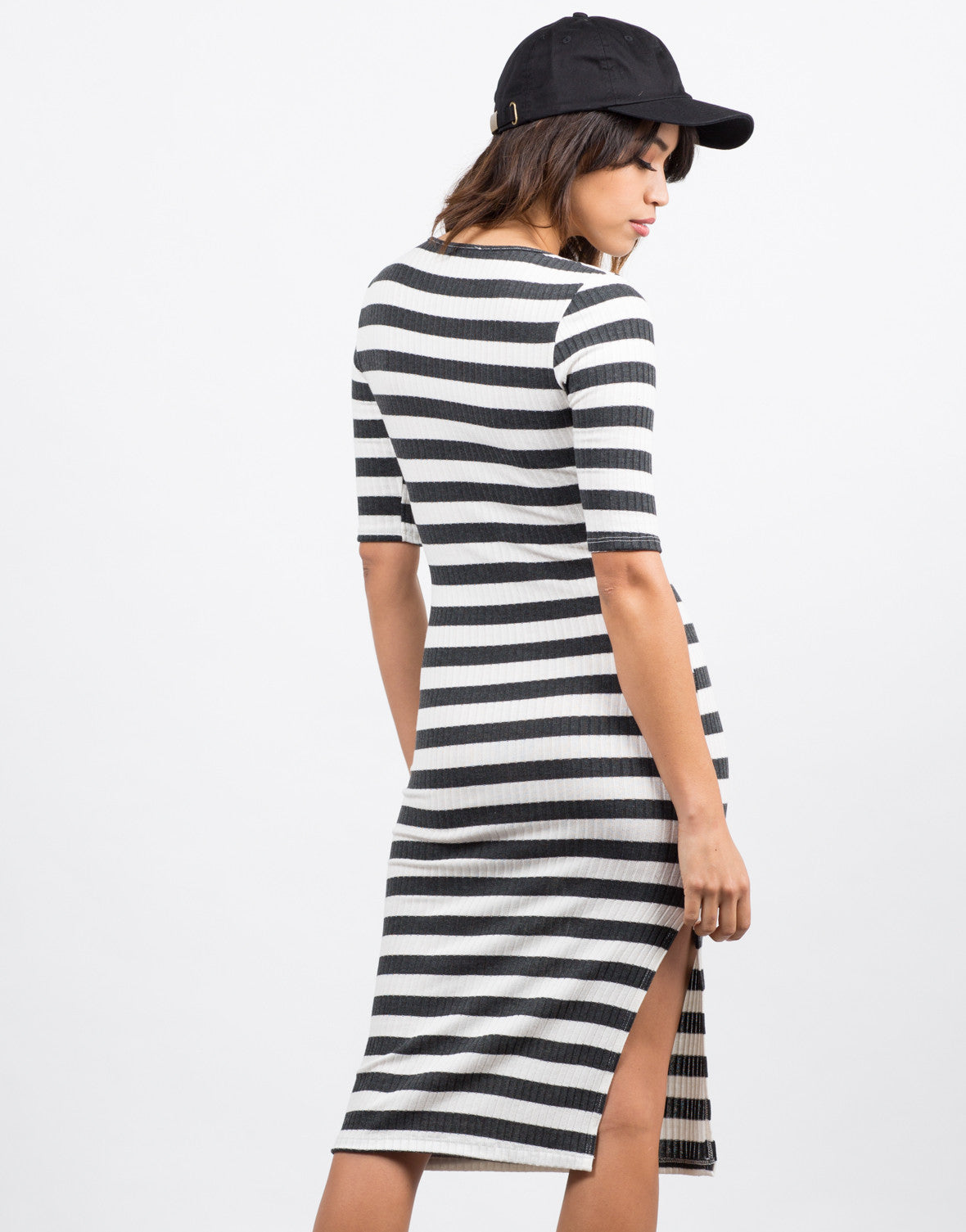 Back  View of Lace Up Striped Midi Dress