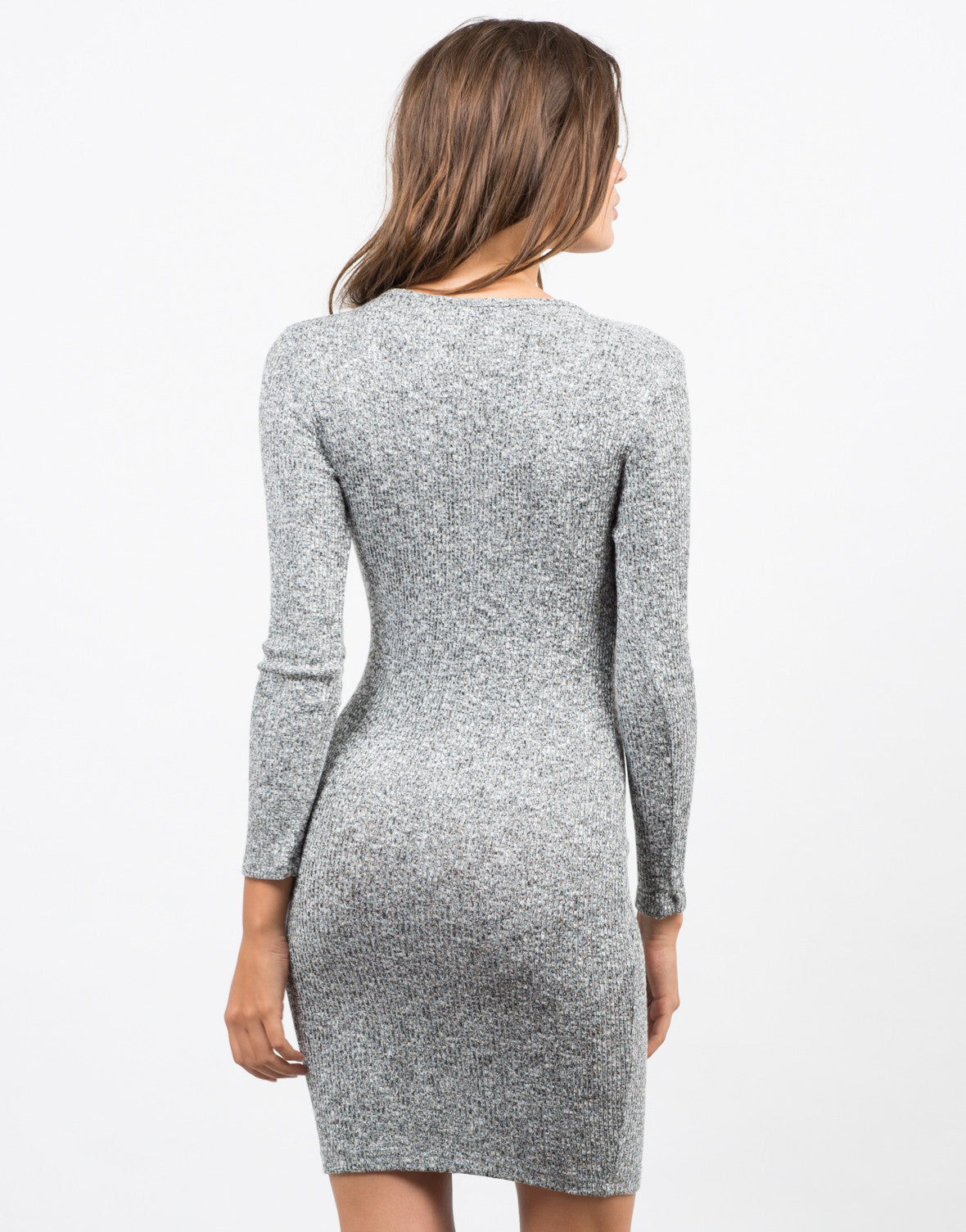 Back View of Lace-Up Sweater Dress