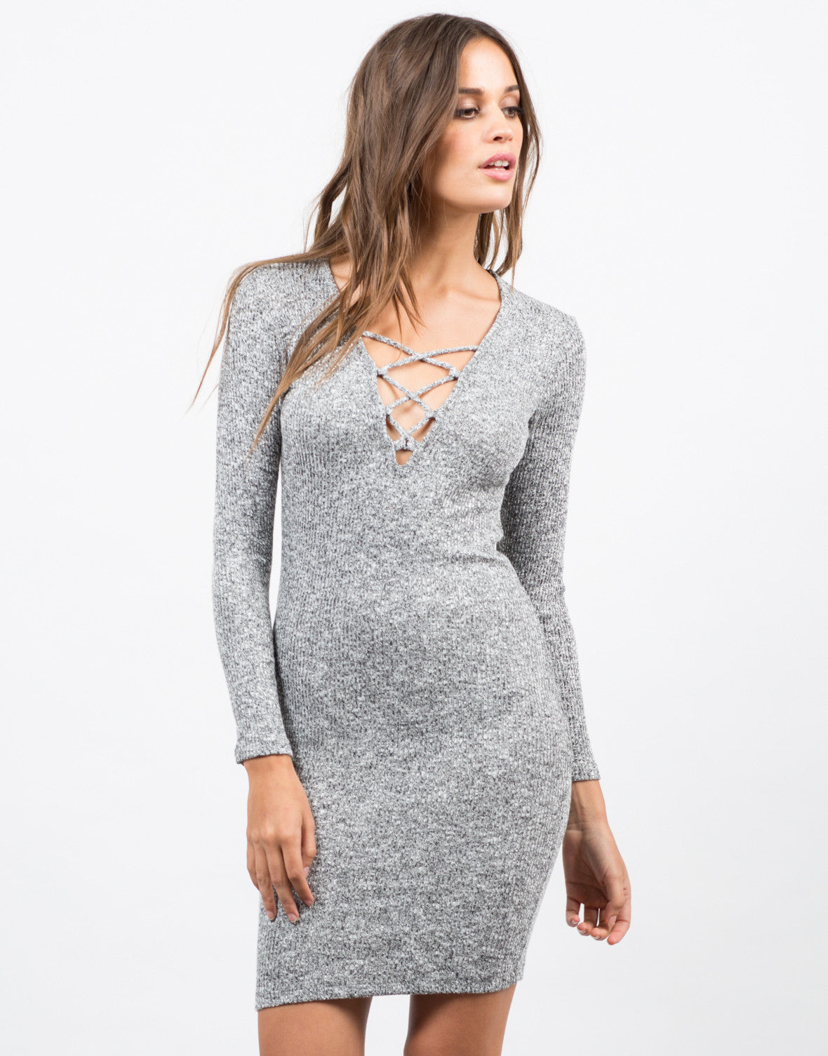 Front View of Lace-Up Sweater Dress
