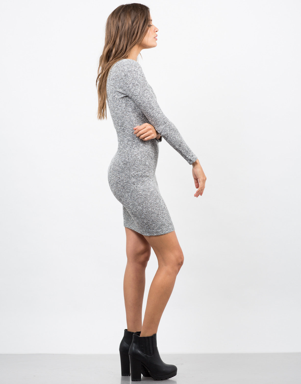 Side View of Lace-Up Sweater Dress
