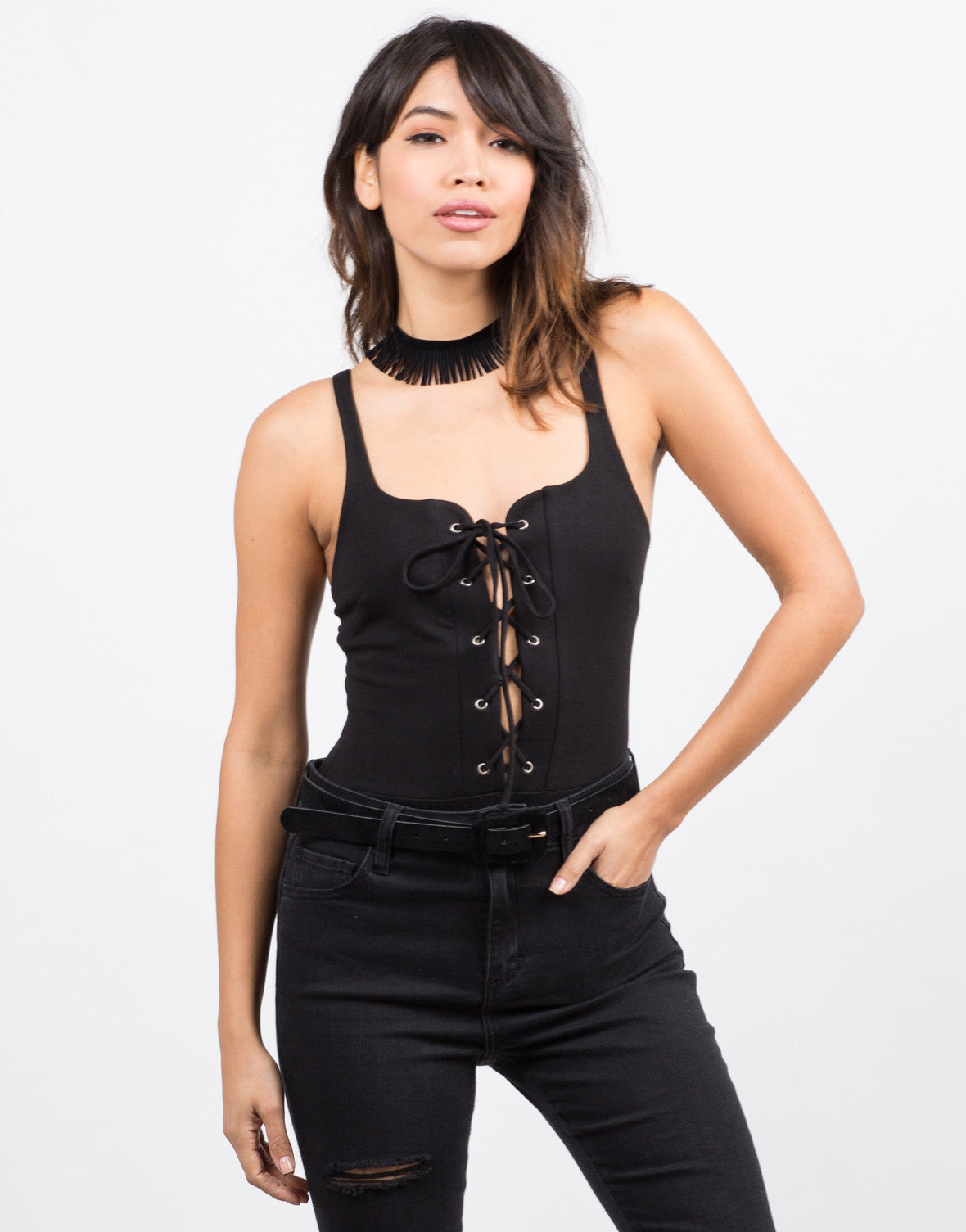 Front View of Lace Up Sweetheart Bodysuit