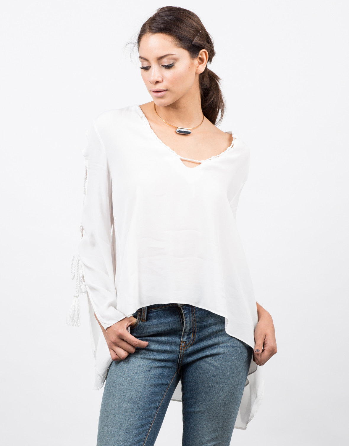 Front View of Lace Up Tassel Blouse