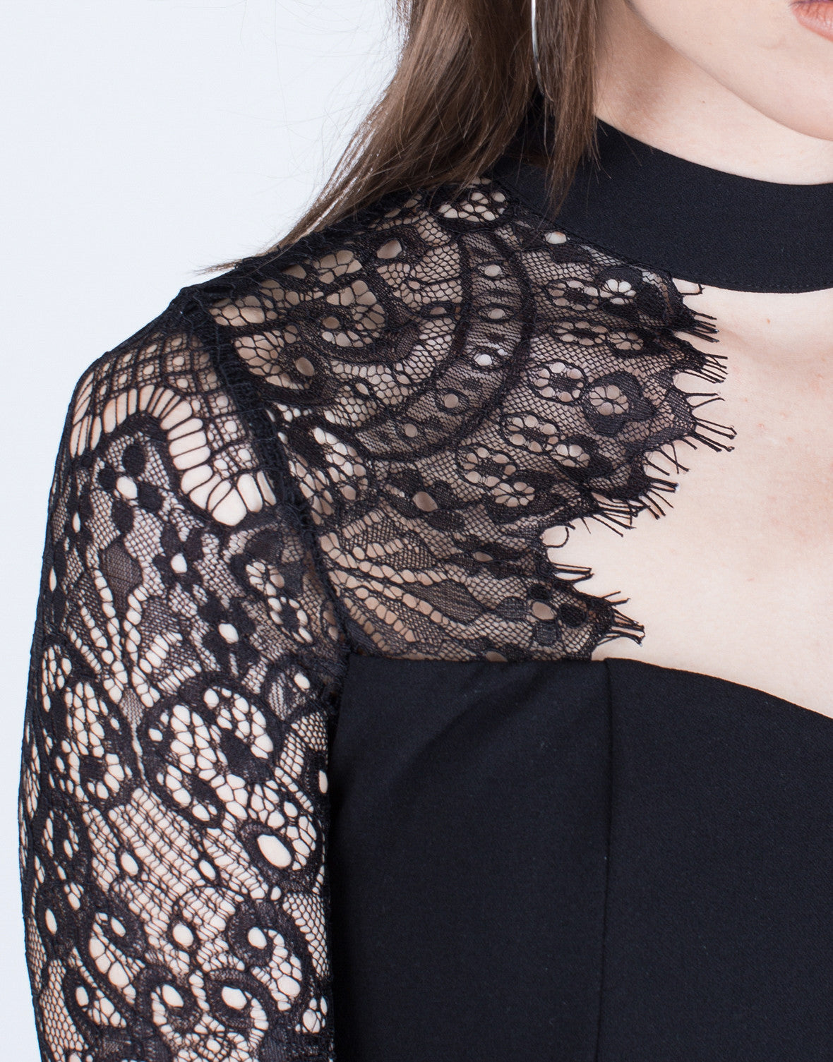 Detail of Lacey Bell Sleeve Romper