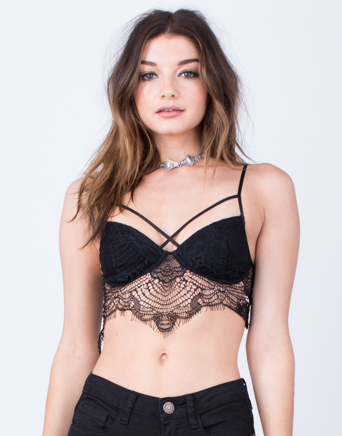 Front View of Lacey Criss Cross Bralette