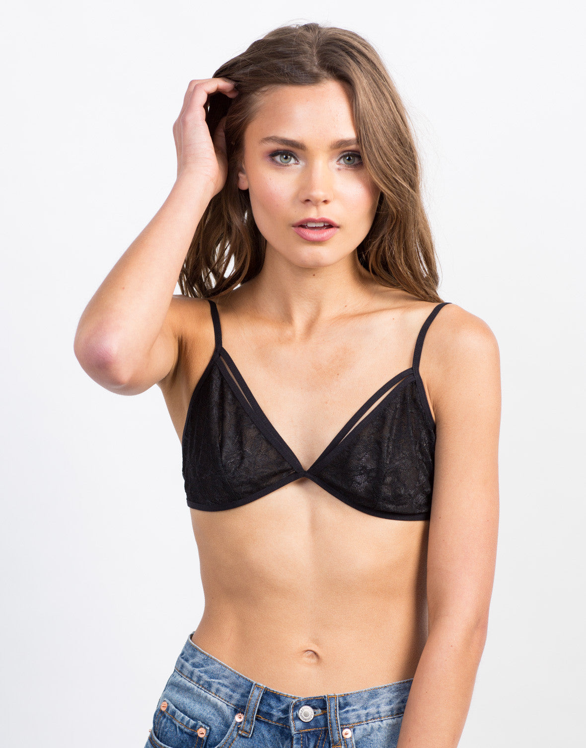 Front View of Lacey Cut Out Bralette