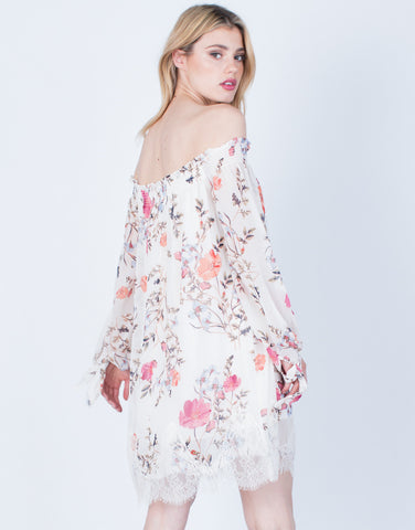 Back View of Lacey Floral Printed Dress