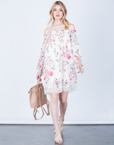Front View of Lacey Floral Printed Dress