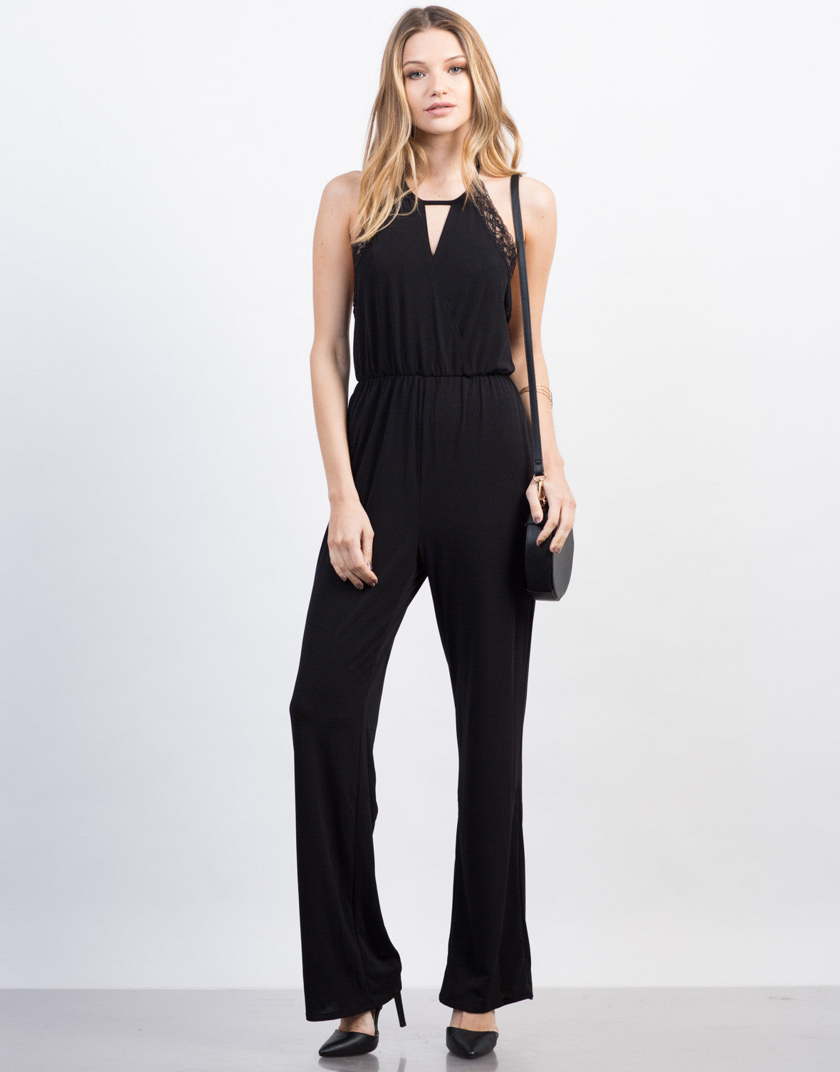 Front View of Lacey Halter Jumpsuit