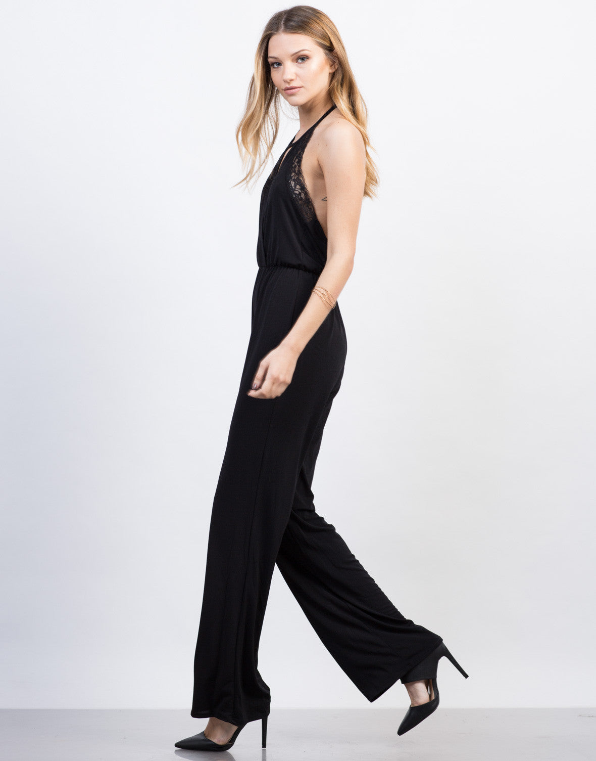 Side View of Lacey Halter Jumpsuit