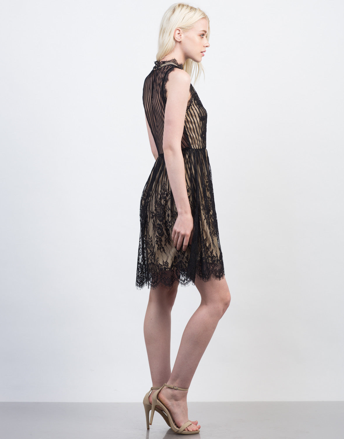 Side View of Lacey Mock Neck Party Dress