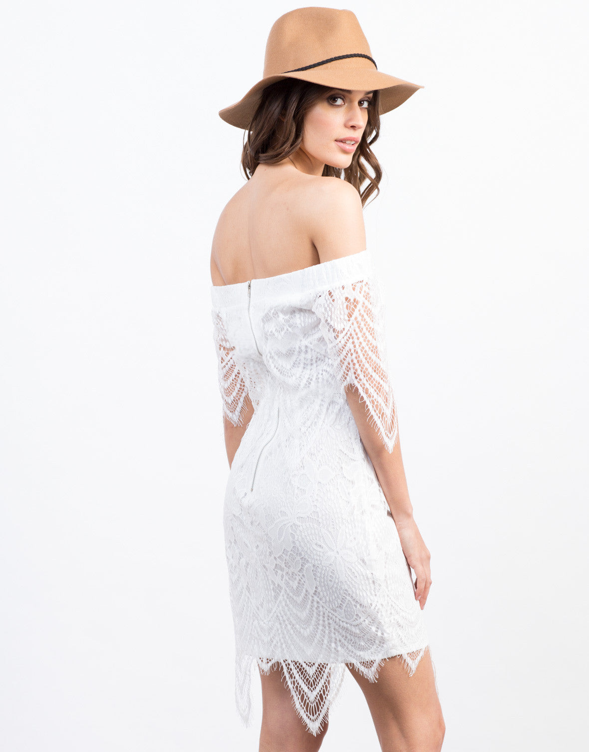 Back View of Lacey Off The Shoulder Dress