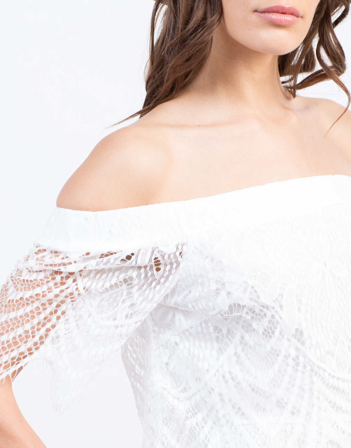 Detail of Lacey Off The Shoulder Dress
