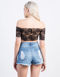 Back View of Lacey Off the Shoulder Top