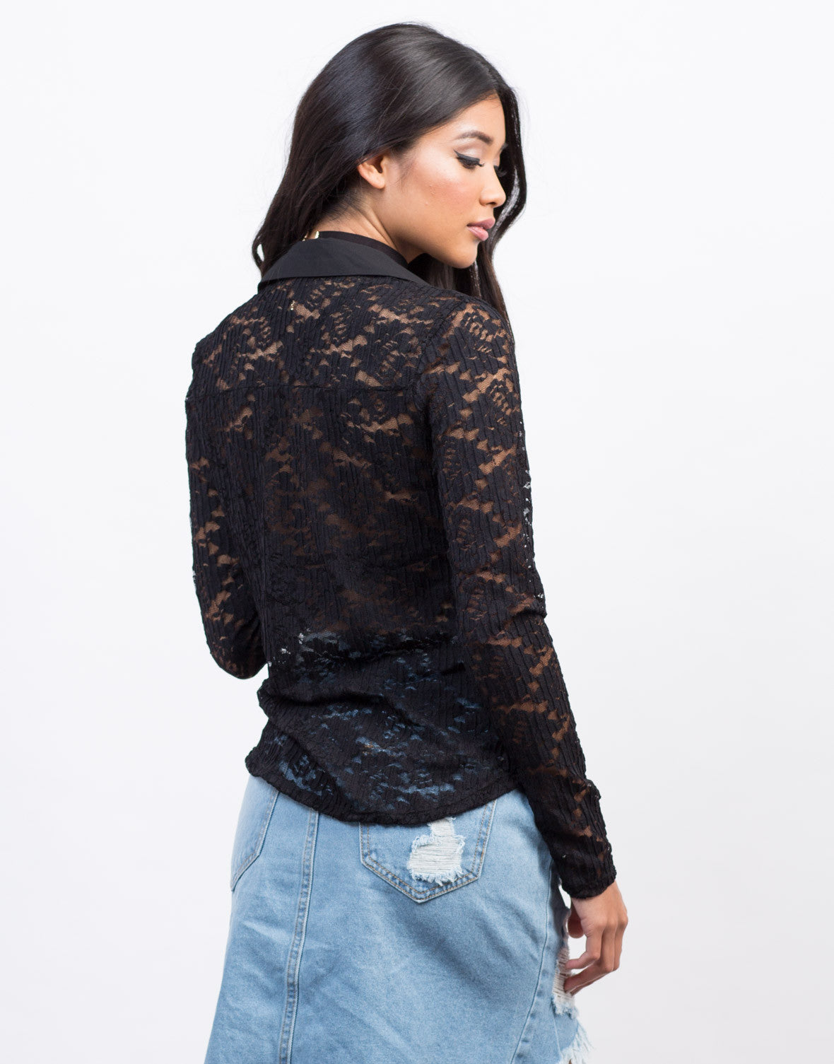 Back View of Lacey Romantic Button Down Top