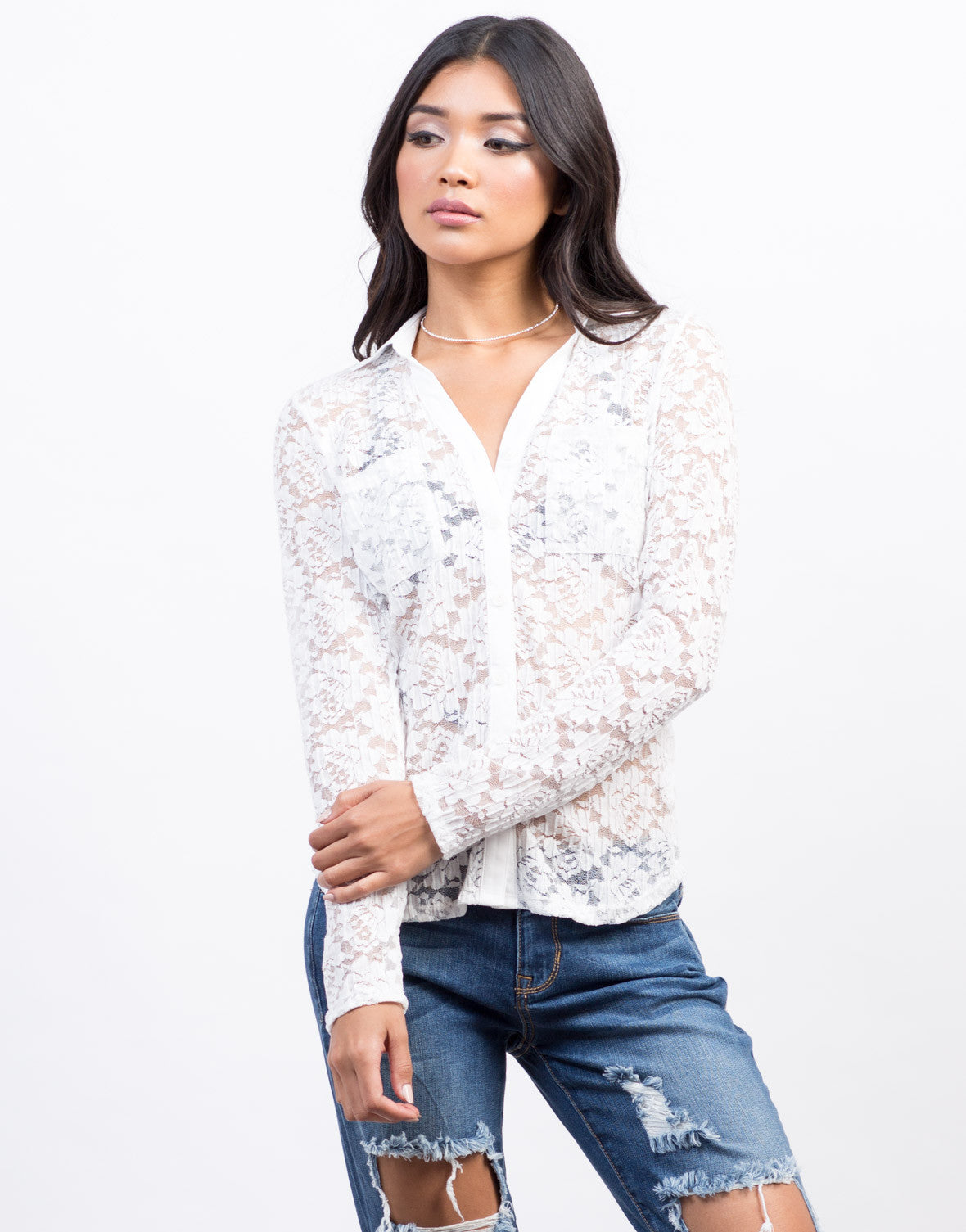 Front View of Lacey Romantic Button Down Top