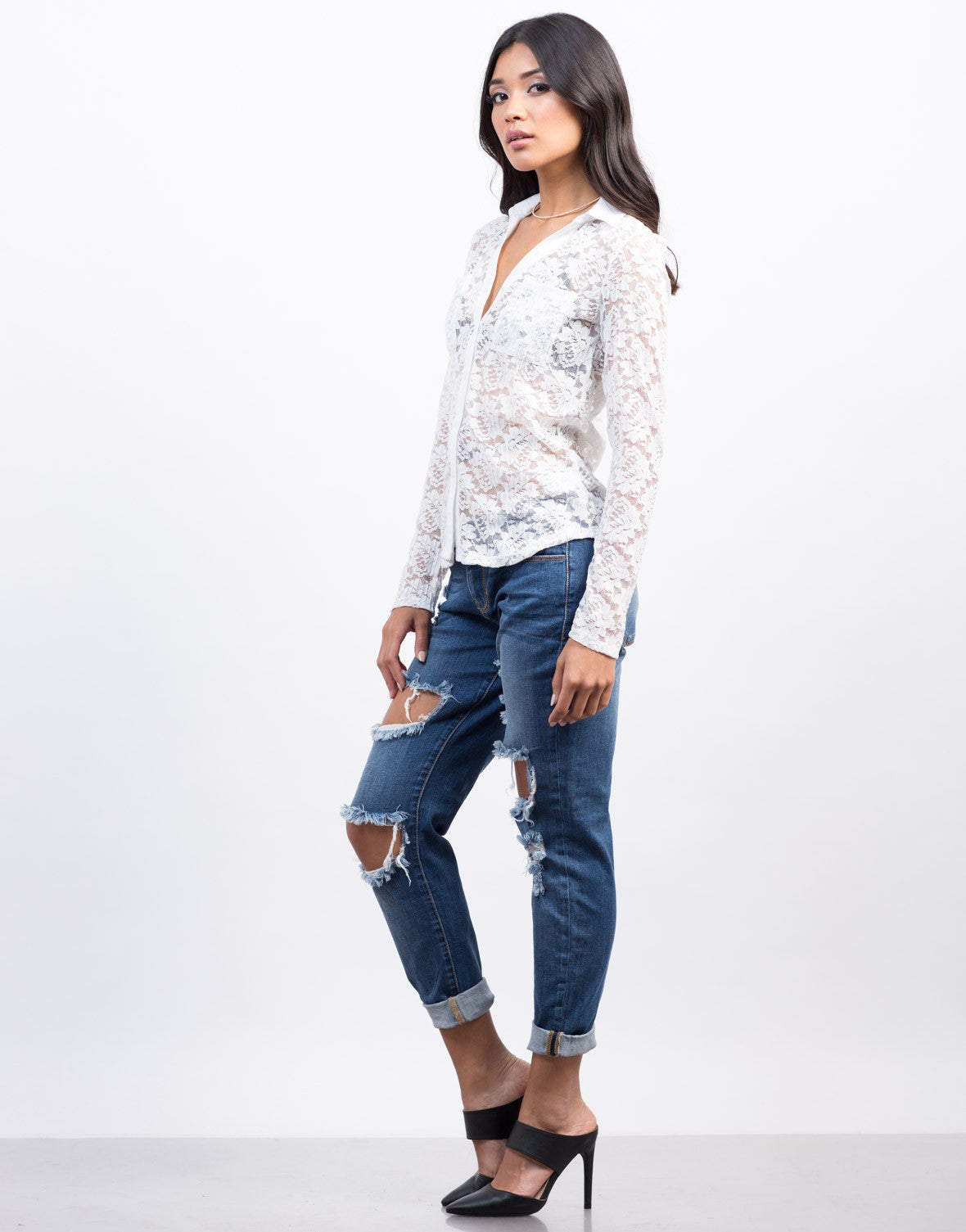 Side View of Lacey Romantic Button Down Top