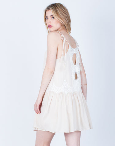 Back View of Lacey Shoulder Tie Dress