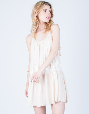 Front View of Lacey Shoulder Tie Dress