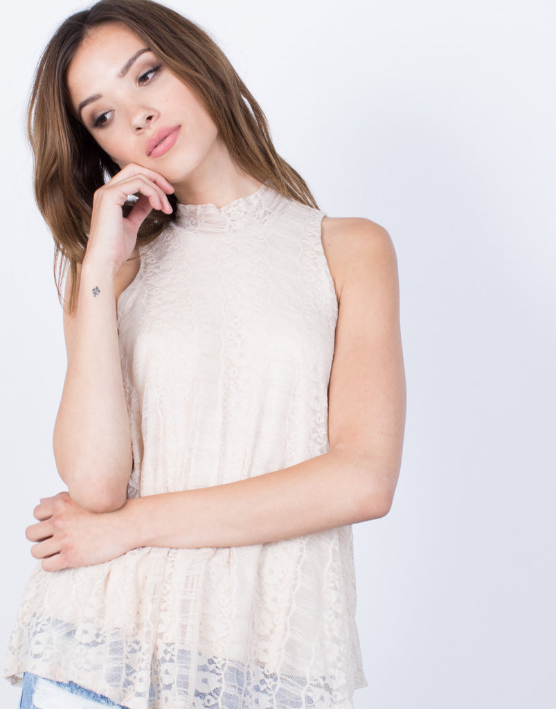 Lacey Summer Tank - Floral Lace Tank - Floral Mock Neck