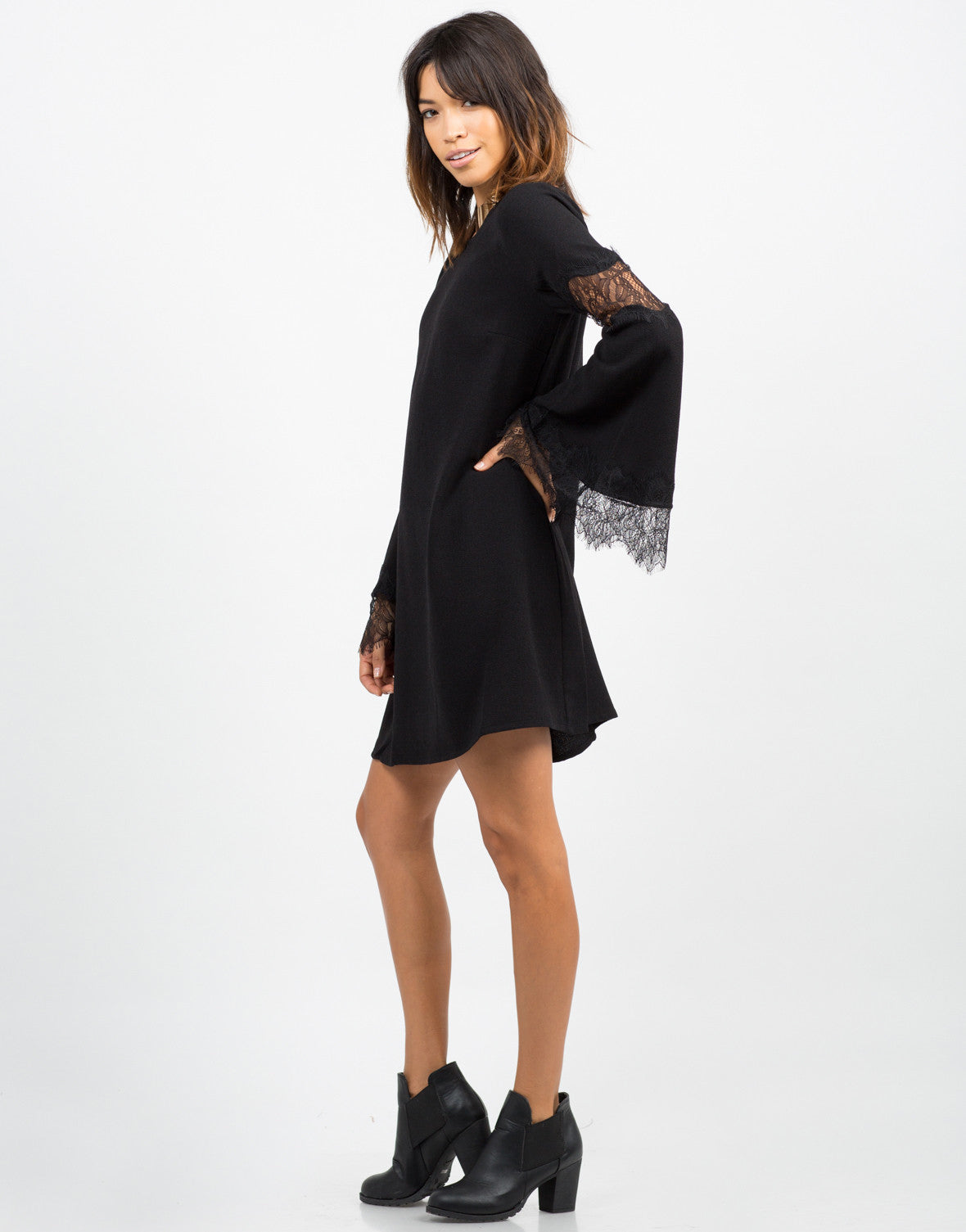 Side View of Lacey Bell Sleeve Dress