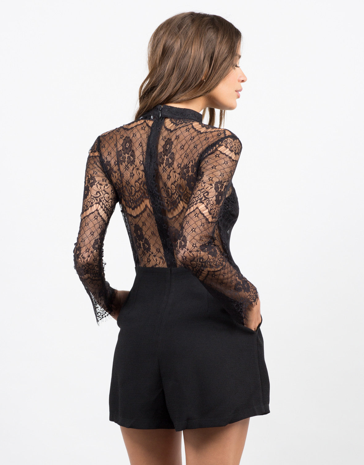 Back View of Lacey Detailed Romper